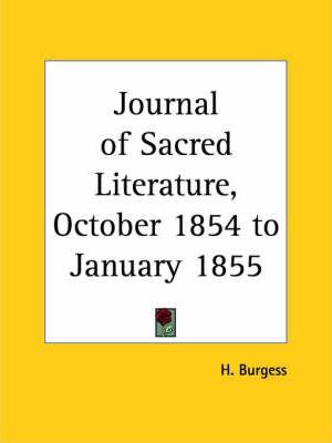 Journal of Sacred Literature (October 1854-January 1855)