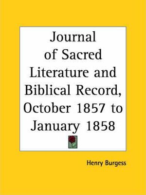 Journal of Sacred Literature and Biblical Record (October 1857-January 1858)