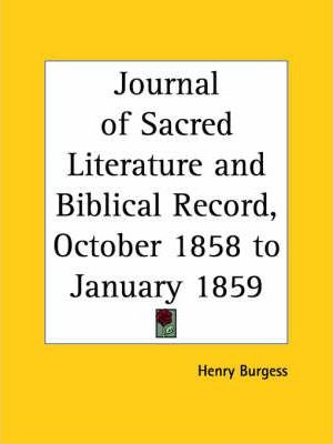 Journal of Sacred Literature and Biblical Record (October 1858-January 1859)