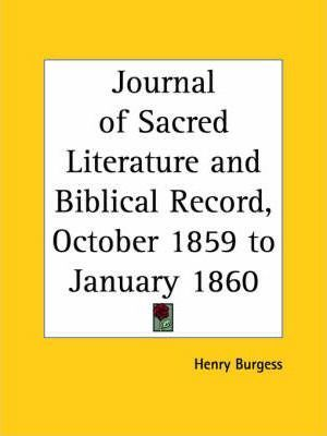 Journal of Sacred Literature and Biblical Record (October 1859-January 1860)
