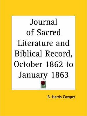 Journal of Sacred Literature and Biblical Record (October 1862-January 1863)