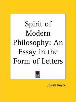 Spirit of Modern Philosophy: an Essay in the Form of Letters (1896)
