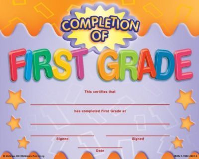 Completion of First Grade Fit-In-A-Frame Award
