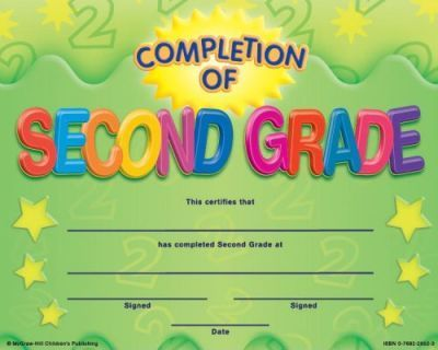 Completion of Second Grade Fit-In-A-Frame Award