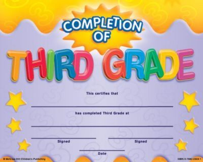Completion of Third Grade Fit-In-A-Frame Award