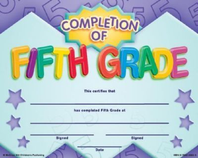 Completion of Fifth Grade Fit-In-A-Frame Award