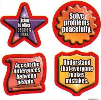 Character Education: Tolerance Shape Stickers