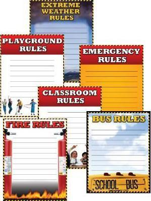 School Safety Rules Cheap Chart Six Pack