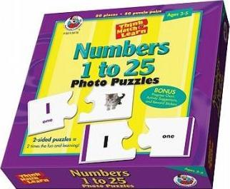 Think, Match, & Learn Numbers 1 to 25 Photo Puzzles