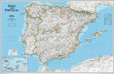 Map Of Spain Showing Regions.Spain Portugal Executive Laminated National Geographic Maps