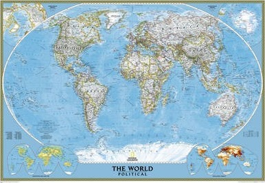 National Geographic World Map Murals.World Classic Mural Tubed 3 Parts National Geographic Maps