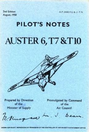 Air Ministry Pilot's Notes: Auster 6, T7 and T10