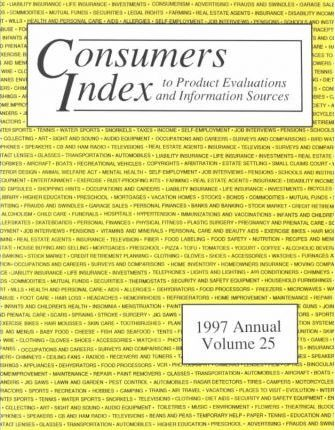 Consumers Index to Product Evaluations and Information Sources