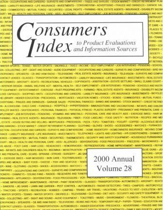 Consumers Index to Product Evaluations and Information Sources 2000