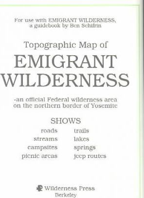 Emigrant Wilderness Map : 9780899971377