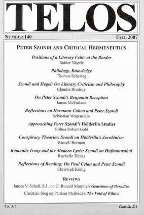 Peter Szondi and Critical Hermeneutics