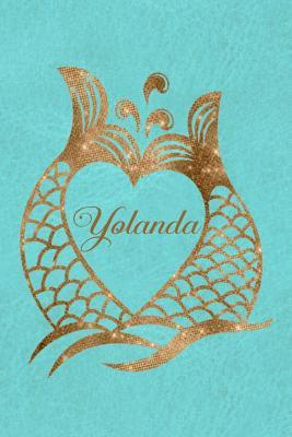 Daily Journal Diary - Personalized Mermaid Tails - Yolanda  Golden Mermaid Tail Design with Name in a Heart Journal For Women To Write Daily Events or Private Thoughts
