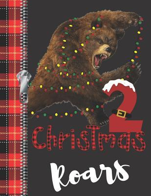 2 Christmas Roars  Lumberjack Plaid Blank Holiday Doodling & Drawing Art Book Brown Bear Sketchbook Journal For Boys And Girls