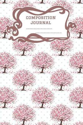 Composition Journal  A 6x9 Inch Matte Softcover Paperback Notebook Graph Paper Journal - 120 pages 5x5 Grids -Green Polka Dots Pink Red Flowers Tree