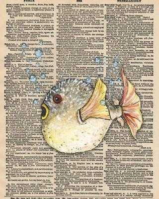 Notebook  A 8x10 Inch Matte Softcover Paperback Journal With 120 Blank Lined Pages, Upcycled Dictionary Saltwater Fish Cover Design