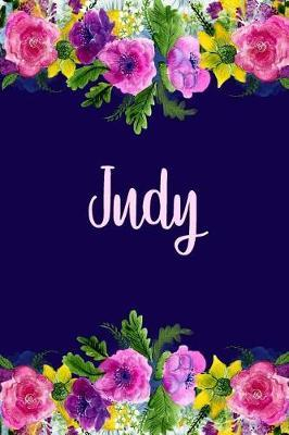Judy  Personalized Name Pink Floral Design Matte Soft Cover Notebook Journal to Write In. 120 Blank Lined Pages