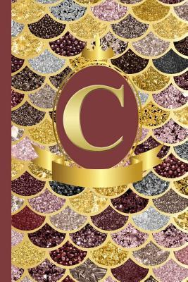 Letter C Notebook  Initial C Monogram Blank Lined Notebook Journal Rose Pink Gold Mermaid Scales Design Cover