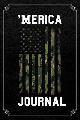 'Merica Journal  Camo American Flag Hunter July 4th Blank Lined Notebook