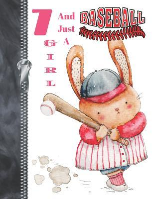 7 And Just A Baseball Girl  Bunny Rabbit A4 Large Baseball Doodling Writing Journal Diary Book For Girls