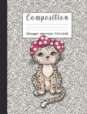 Composition  Wide ruled education composition notebook for students and teachers at school, college or home study - Silver sparkle effect cover art with cute leopard