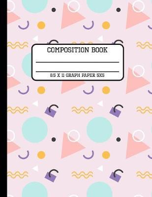 Composition Book Graph Paper 5x5  Fun Trendy Geometric Lavender Back to School Quad Writing Notebook for Students and Teachers in 8.5 x 11 Inches