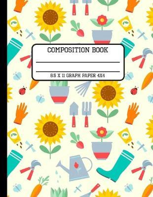 Composition Book Graph Paper 4x4  Trendy Spring Gardening Back to School Quad Writing Notebook for Students and Teachers in 8.5 x 11 Inches