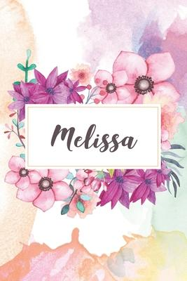 Melissa  Personalized Journal - beautiful floral notebook cover with 120 blank, lined pages.