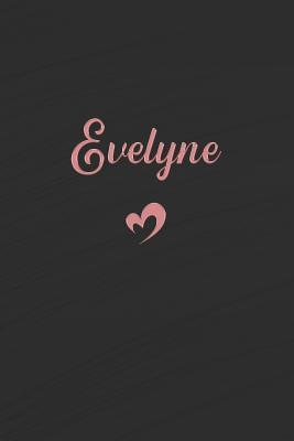 Evelyne  Personalized Blank Lined Journal Rose Gold on Black