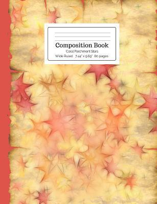 Composition Book Coral Parchment Stars Wide Ruled