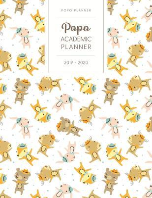 Popo Academic Planner 2019-2020  Monthly & Weekly - Dated with Todo Notes - Moose Bear Rabbit in Hats