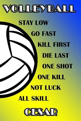Volleyball Stay Low Go Fast Kill First Die Last One Shot One Kill Not Luck All Skill Cesar  College Ruled Composition Book Blue and Yellow School Colors