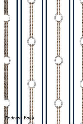 Address Book  For Contacts, Addresses, Phone, Email, Note, Emergency Contacts, Alphabetical Index with Hand Drawn Chain Summer Nautical Rope Vertical Stripe Design