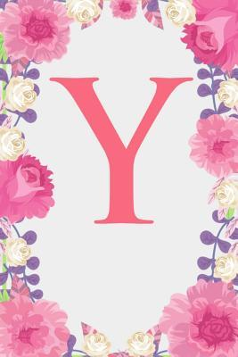 Y  Letter Y Monogram Initials Pink Rose Floral Notebook & Journal