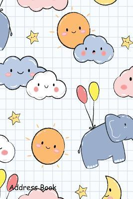 Address Book  For Contacts, Addresses, Phone, Email, Note, Emergency Contacts, Alphabetical Index With Cute Elephant Sky Cartoon Doodle
