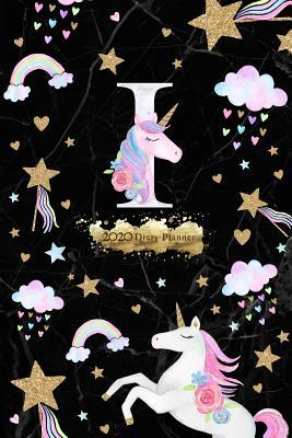 2020 Diary Planner  Black & Gold Magical Unicorn January to December 2020 Diary Planner With I Monogram on Dark Marble.