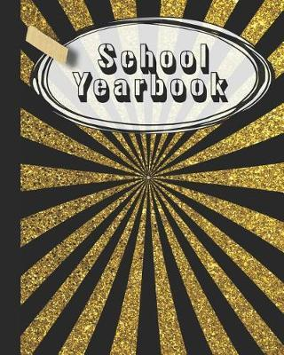School Yearbook  Yearbook, autograph and memory book for end of year celebrations and memories or school leavers - Black and gold school colours cover art design