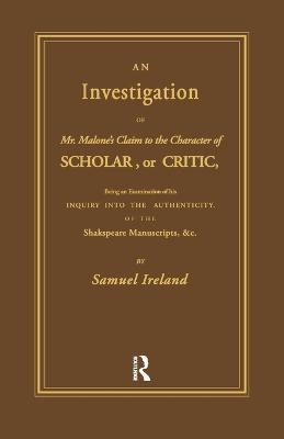 Investigation into Mr. Malone's Claim to Charter of Scholar