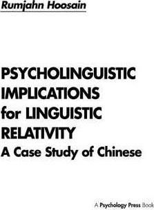 Psycholinguistic Implications for Linguistic Relativity