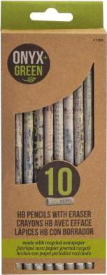 Onyx & Green 10-pack Recycled Newspaper Pencils With Eraser