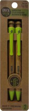 Onyx & Green 2-Pack Bamboo Retractable Pen Blue Ink