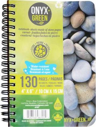 """Onyx & Green Stone Paper Notebook - 4"""" X 6"""""""