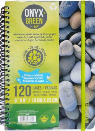 "Onyx & Green Stone Paper Notebook - 6"" X 9"""