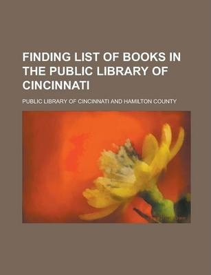 Finding List of Books in the Public Library of Cincinnati