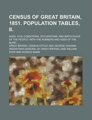 Census of Great Britain, 1851. Population Tables, II; Ages, Civil Conditions, Occupations, and Birth-Place of the People