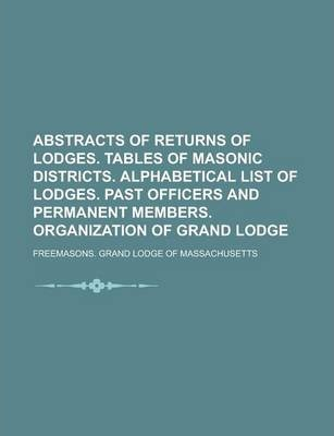 Abstracts of Returns of Lodges. Tables of Masonic Districts. Alphabetical List of Lodges. Past Officers and Permanent Members. Organization of Grand Lodge